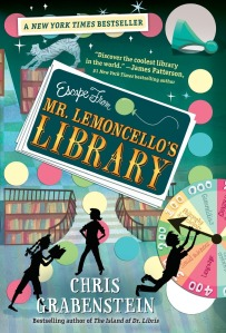 Escape-From-Mr-Lemoncellos-Library-Book-Front-Cover-Artwork-Art-Work-Lemoncello-Chris-Grabenstein-Nickelodeon-Nick-Press